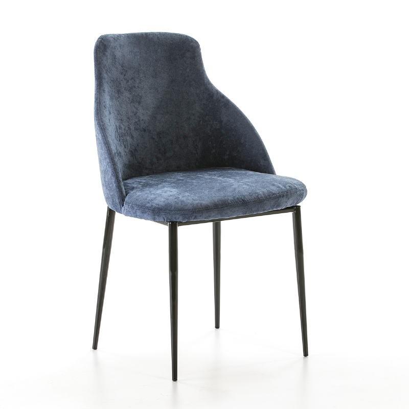Chaise 52x55x87 Métal Noir tissu Bleu - image 50707