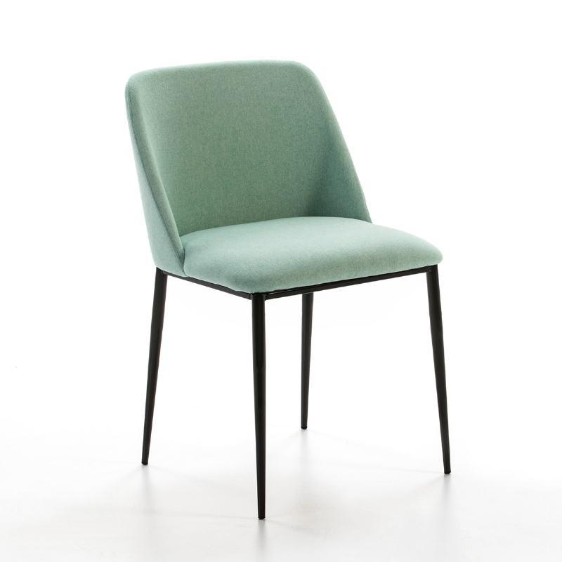 Chaise 56x52x77 Métal Noir tissu Vert