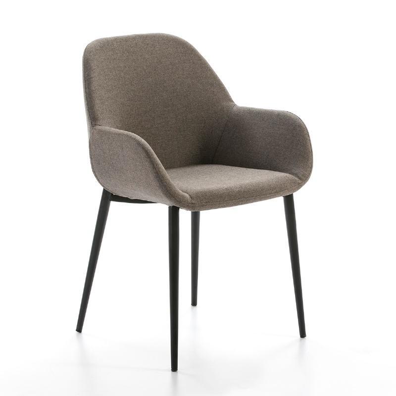 Chair Armrests Brown Fabric 54X59X86 Metal Black