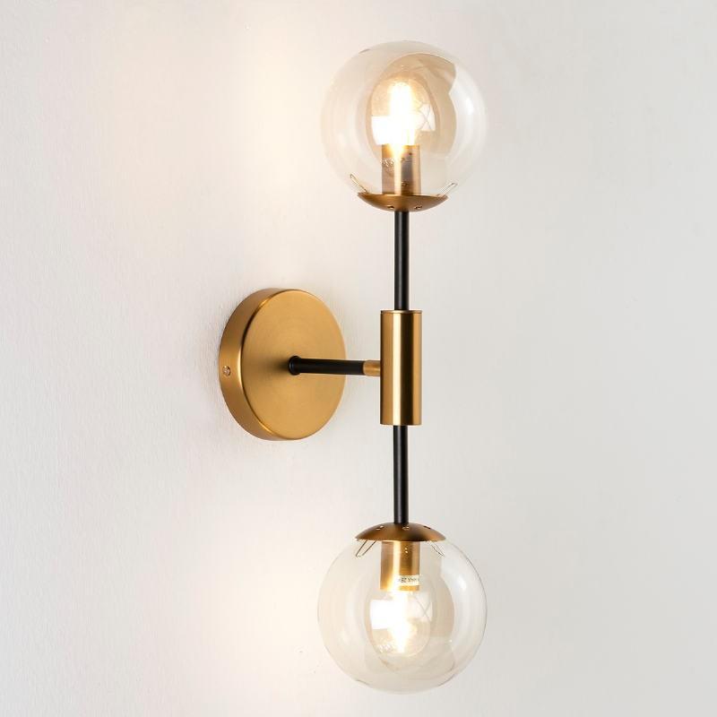 Wall Lamp 13X20X50 Glass Amber Metal Golden Black - image 50747