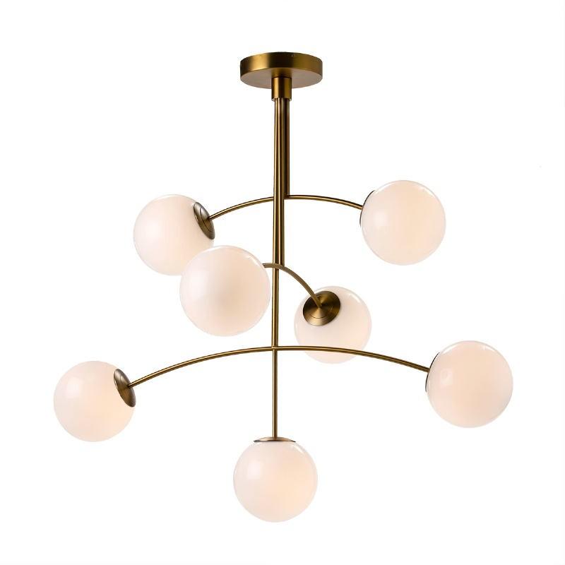 Lampe suspendue 115x90x110 Verre Blanc Métal Doré - image 50756