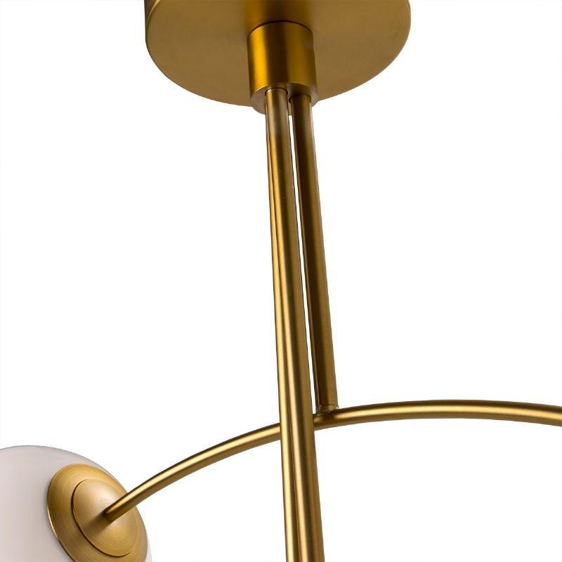 Lampe suspendue 115x90x110 Verre Blanc Métal Doré - image 50758