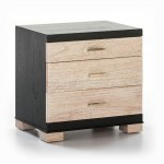 Bedside Table 3 Drawers 55X40X55 Wood Black White Washed