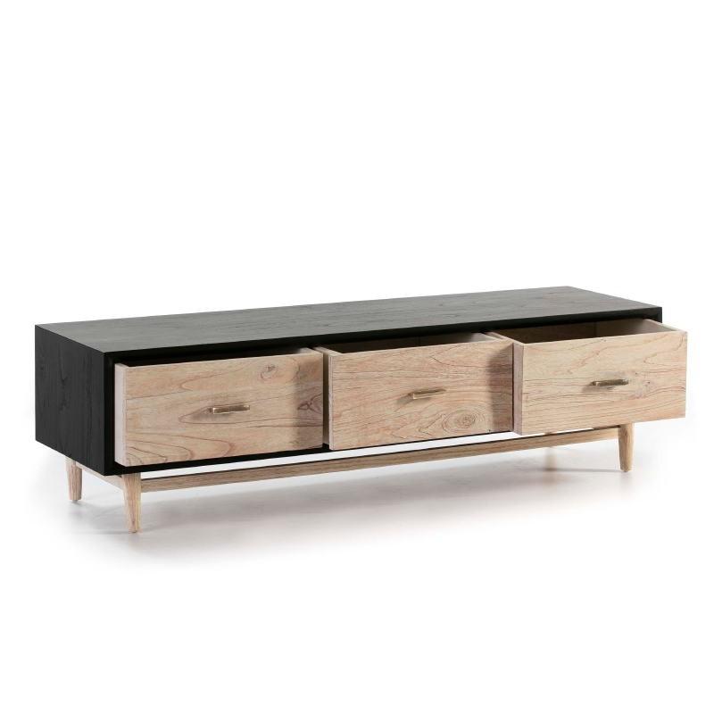 Tv Furniture 160X45X45 Wood Black White Washed - image 50795