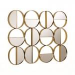 Wandskulptur 79X3X60 Spiegel/Metall Golden