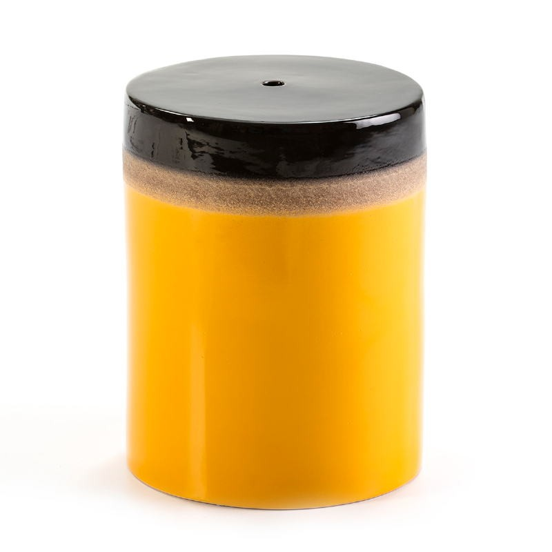 Stool 33X33X43 Ceramic Yellow Cream Black