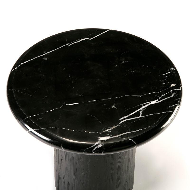 Table d'appoint, bout de canapé, bout de canapé 50x50x50 Bois Marbre Noir - image 50910