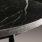 Dining Room Table 125X125X75 Marble Metal Black