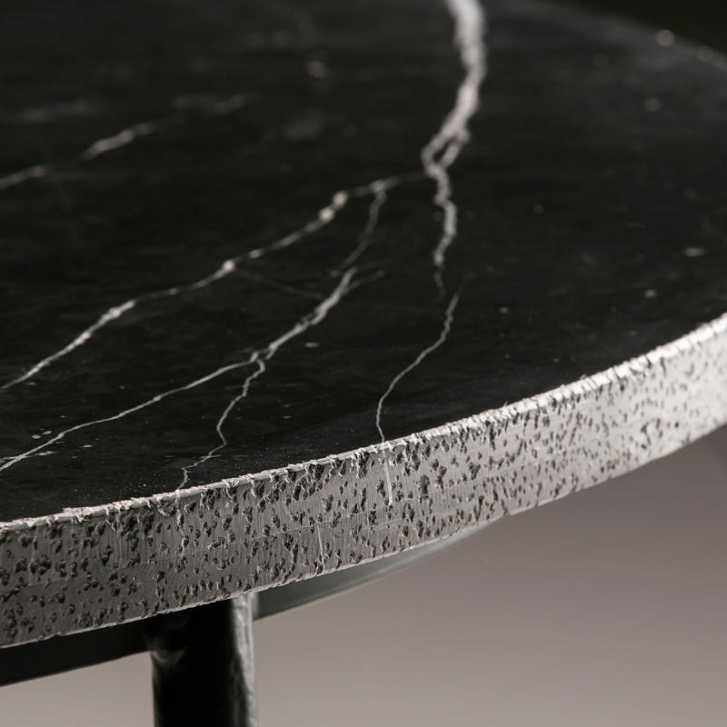 Dining Room Table 125X125X75 Marble Metal Black - image 50927
