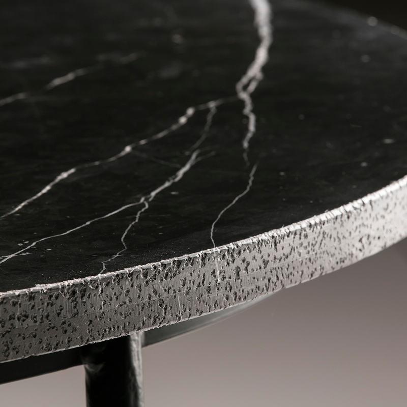 Esstisch 125X125X75 Marmor/Metall Schwarz - image 50927
