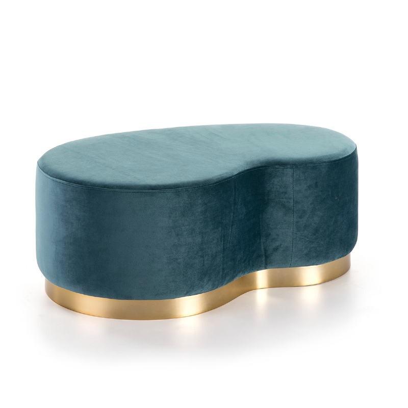 Pouf 95x58x38 Métal Doré tissu Velours Bleu