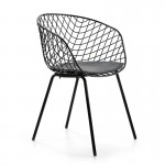 Chaise design 57x50x79 Métal Noir