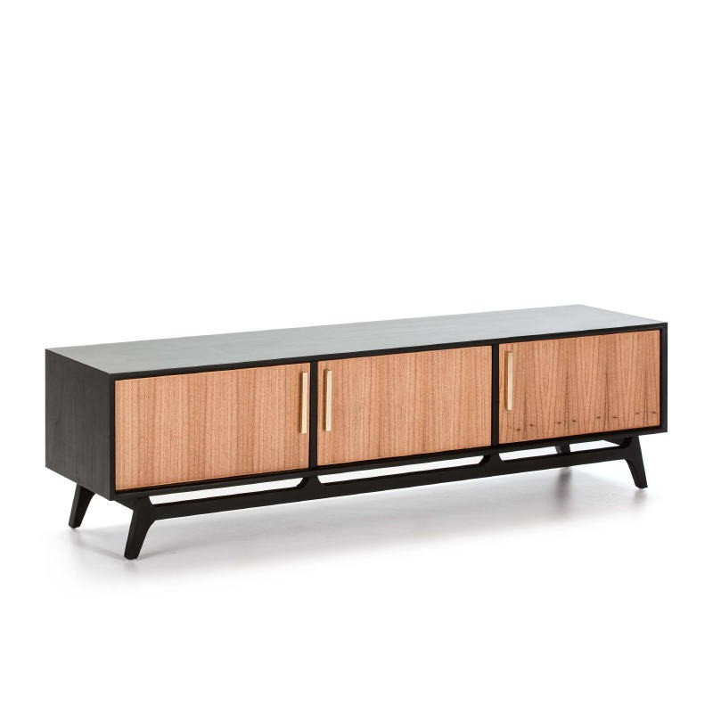 Tv Furniture 3 Doors 160X40X45 Wood Black Natural - image 50974