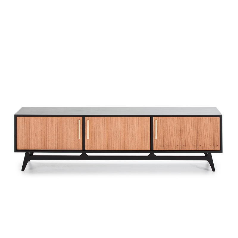 Tv Furniture 3 Doors 160X40X45 Wood Black Natural - image 50975