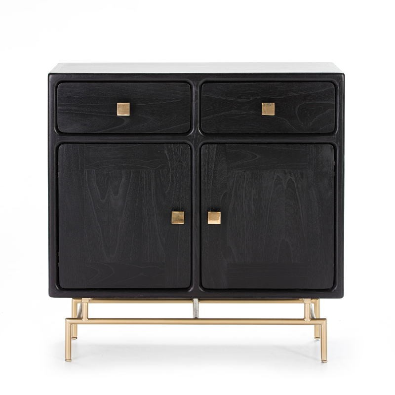 Buffet 2 portes 2 tiroirs 90x40x90 Bois Noir Métal Doré - image 50982