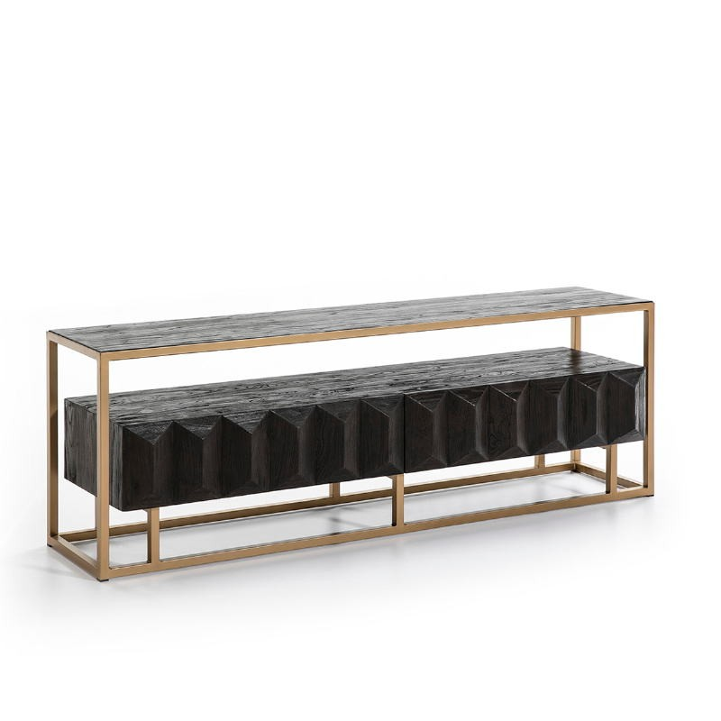 Tv Furniture 180X45X61 Wood Dark Brown Metal Golden - image 50998