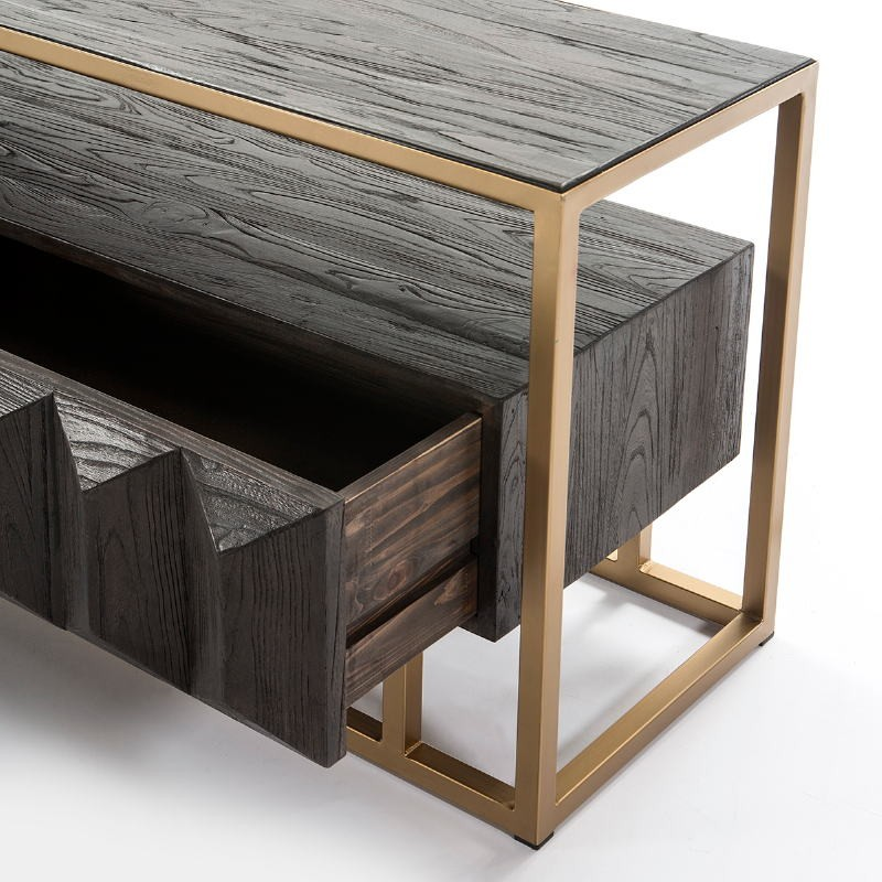 Tv Furniture 180X45X61 Wood Dark Brown Metal Golden - image 50999