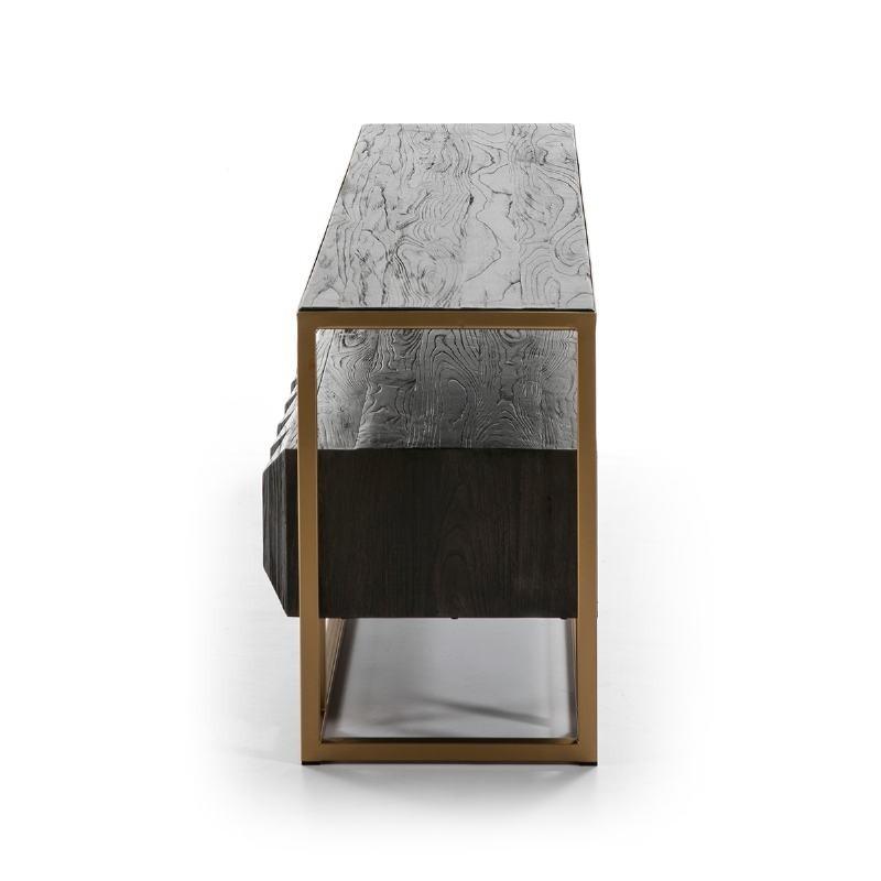Tv Furniture 180X45X61 Wood Dark Brown Metal Golden - image 51000