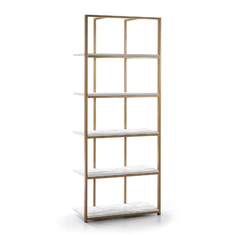 Shelf 80X38X200 Wood White Metal Golden - image 51029
