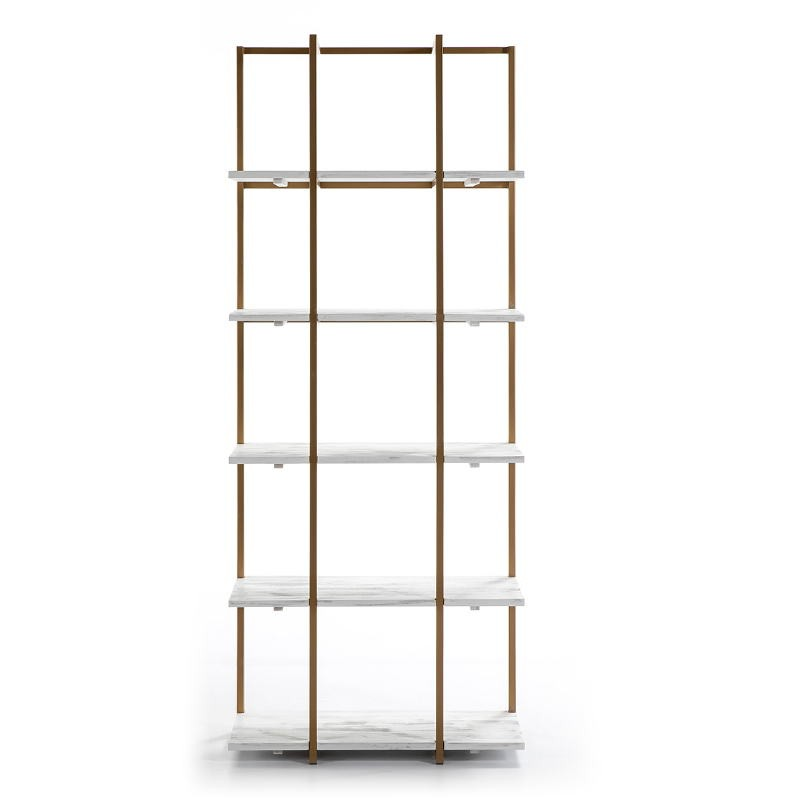 Shelf 80X38X200 Wood White Metal Golden - image 51032