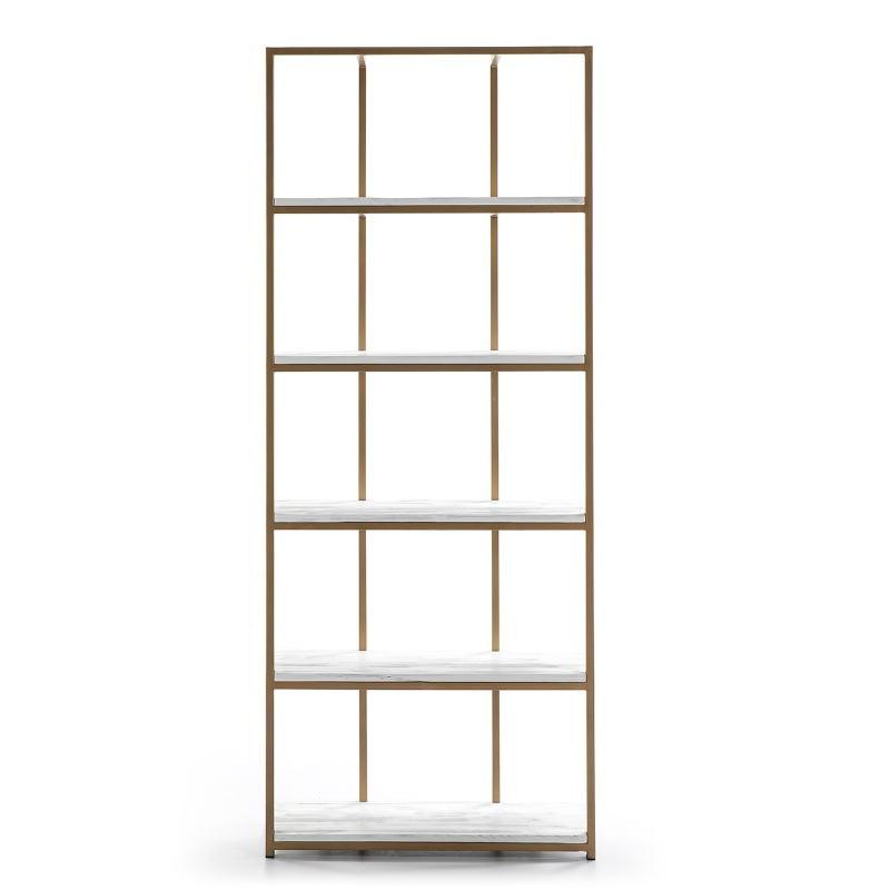 Shelf 80X38X200 Wood White Metal Golden - image 51035