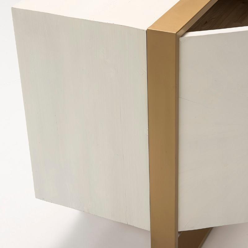 Buffet 3  Ante 178X45X80 Legno Bianco Metallo Dorato - image 51058