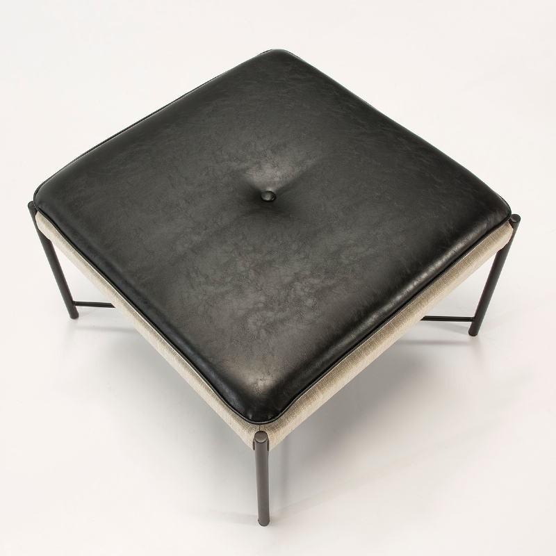Pouf 60x60x41 Métal Noir tissu Gris Cuir synthétique Noir - image 51085
