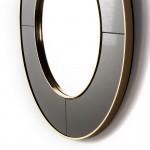 Espejo 80X3X80 Cristal Negro Espejo Metal Dorado