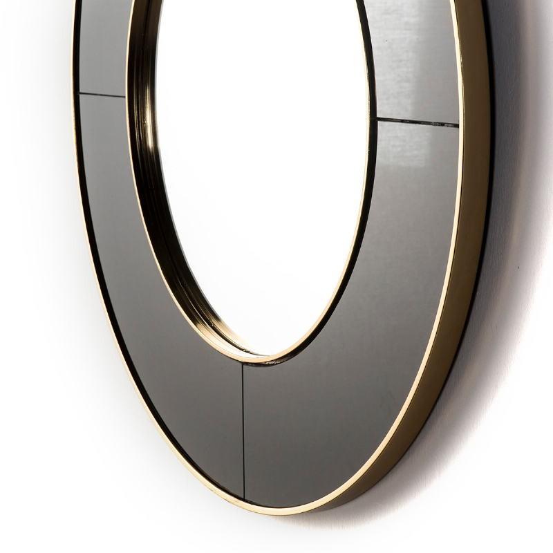 Mirror 80X3X80 Glass Black Mirror Metal Golden - image 51145