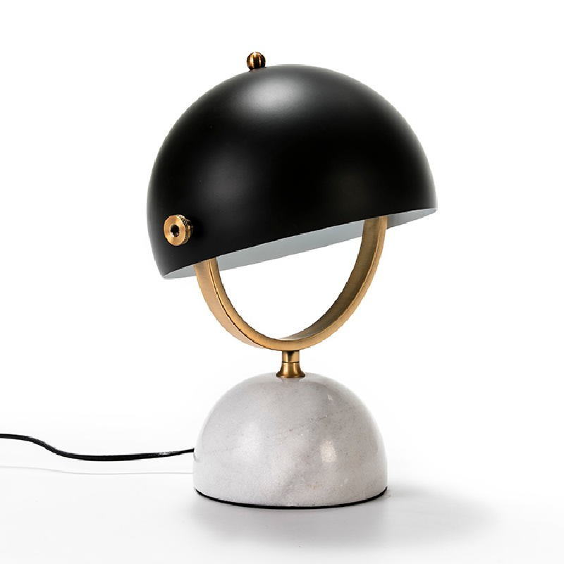 Table Lamp With Lampshade 28X24X40 Marble White Metal Golden Black - image 51191