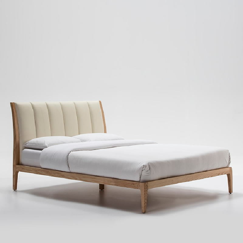 Bed 157X217X104 Ash Wood P.Leather Beige