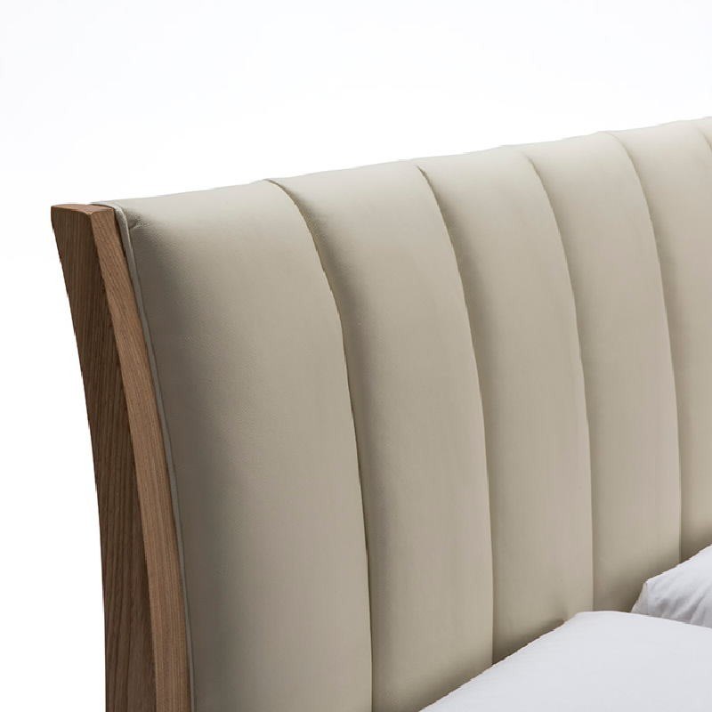 Bed 157X217X104 Ash Wood P.Leather Beige - image 51196