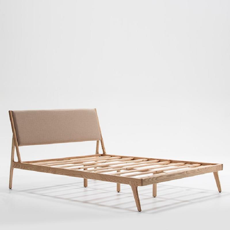 Bed 157X205X97 Ash Wood Linen Beige - image 51200