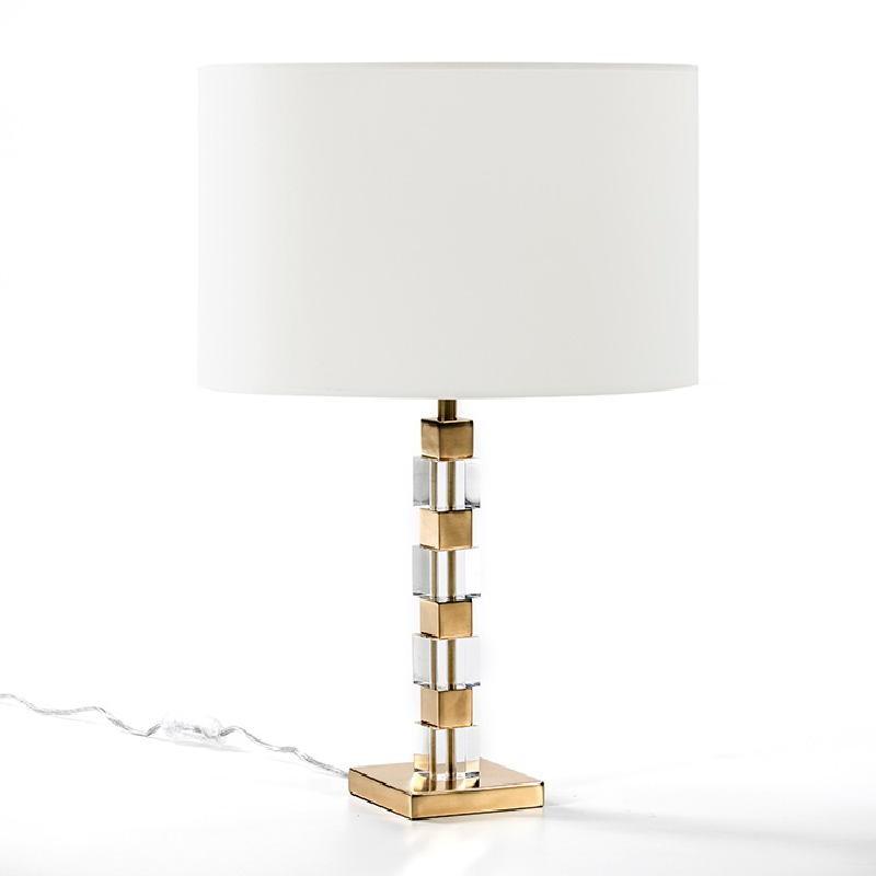 Lampe de Table sans abat-jour 12x12x42 Acrylique Métal Doré - image 51217