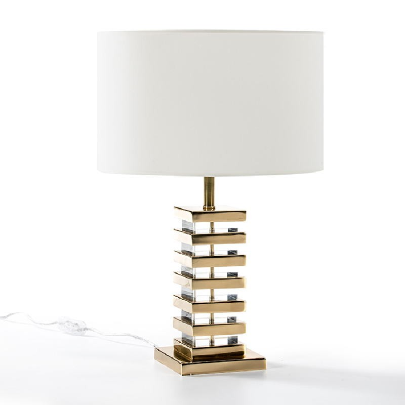 Lampe de Table sans abat-jour 15x15x41 Acrylique Métal Doré - image 51218