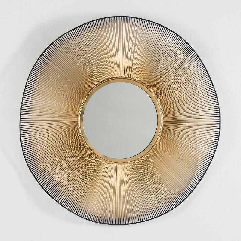 Spiegel 75X4X75 Glas/Metall Golden/Schwarz