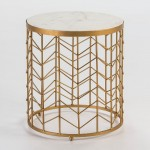 Auxiliary Table 40X40X46 Marble White Metal Golden
