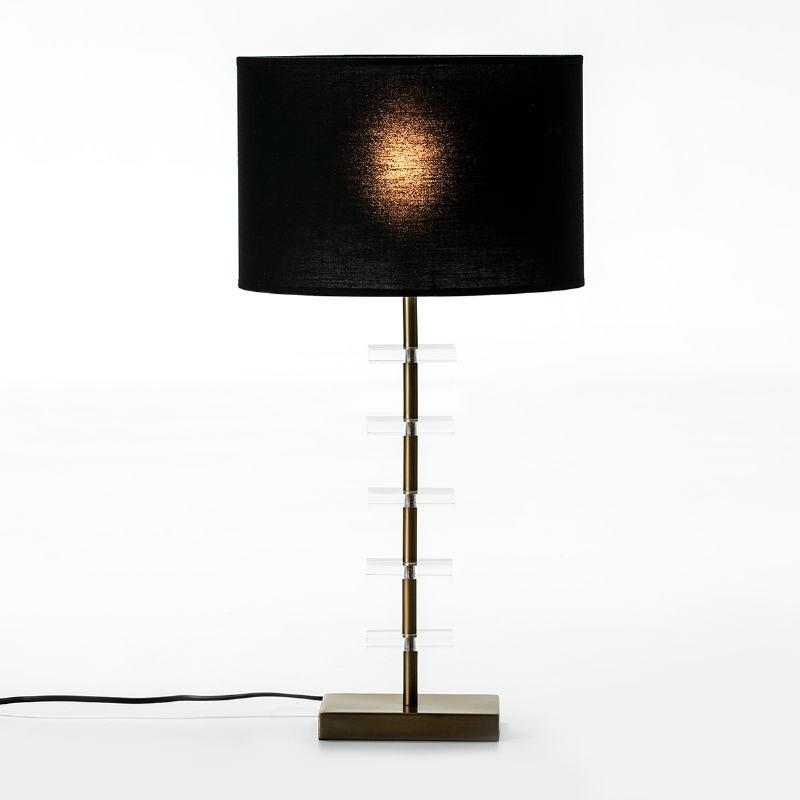 Lampe de Table sans abat-jour 15x11x43 Métal Doré Acrylique Transparent