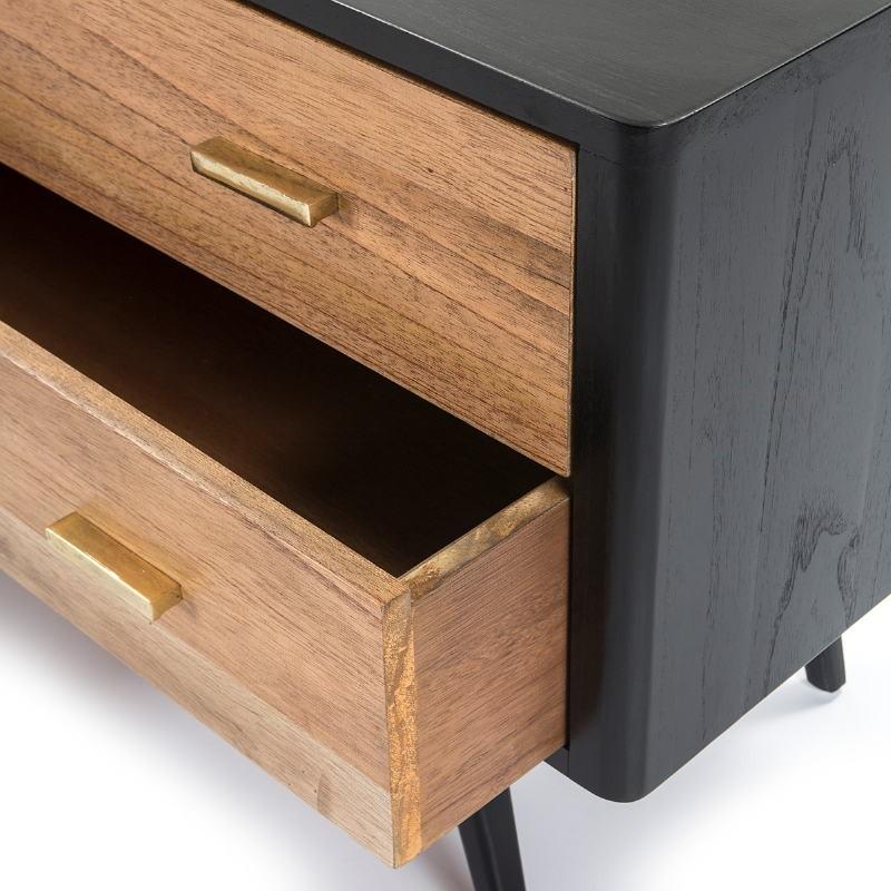 Buffet 2 portes 2 tiroirs 199x45x66 Bois Noir Naturel - image 51299