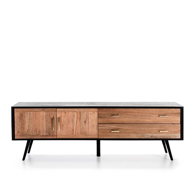 Sideboard 2 Doors 2 Drawers 199X45X66 Wood Black Natural - image 51302