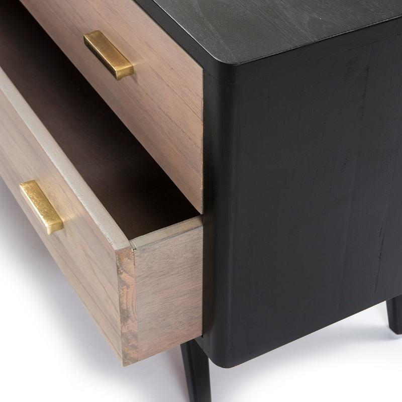 Buffet 2 portes 2 tiroirs 199x45x66 Bois Noir Gris - image 51305