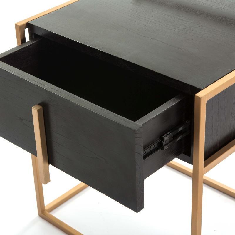 Bedside Table 1 Drawer 50X40X60 Wood Black Metal Golden - image 51324