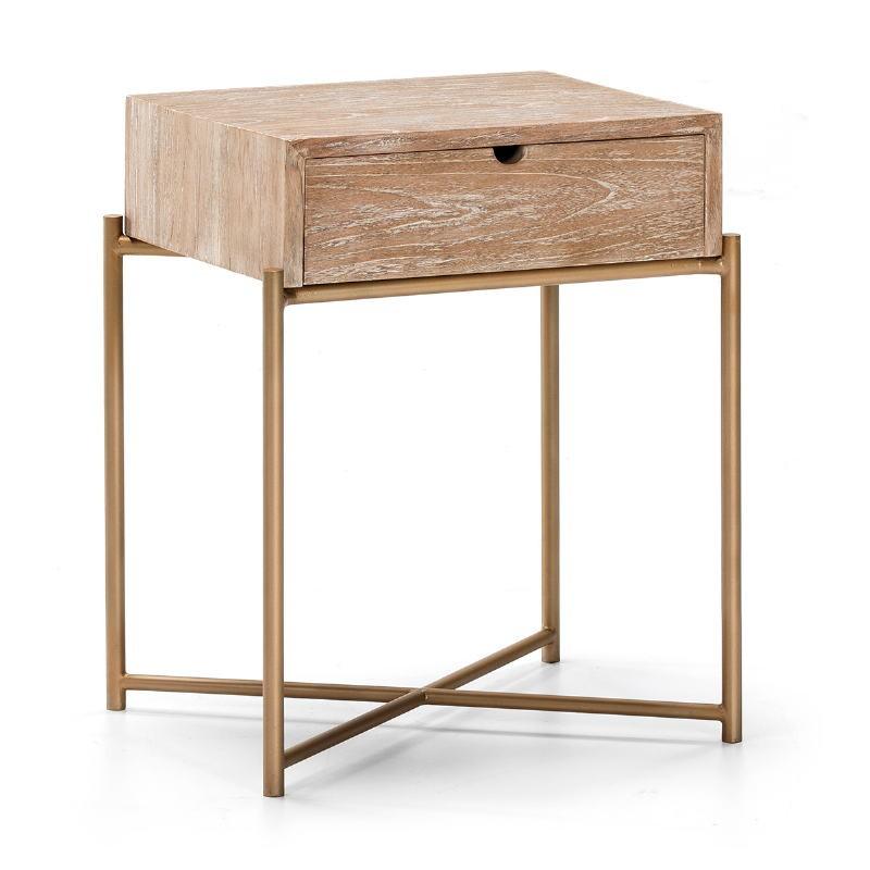 Nachttisch 1 Schublade 50X40X62 Holz/Metall Weißwäsche/Golden