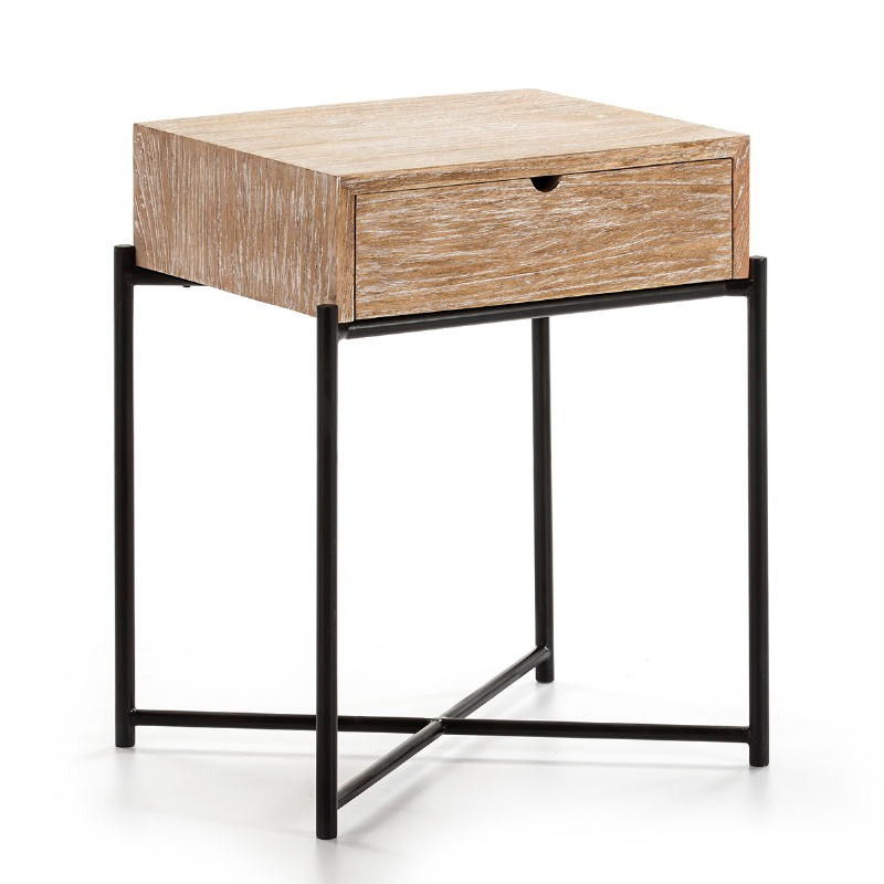 Bedside Table 1 Drawer 50X40X62 Wood White Washed Metal Black