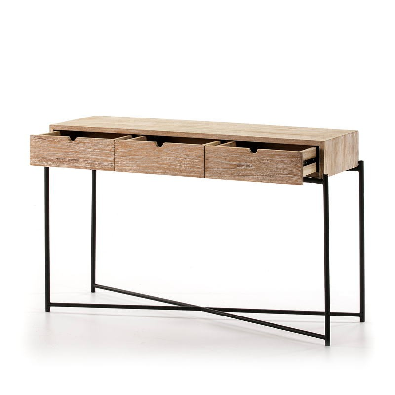 Console 120X40X76 Wood White Washed Metal Black - image 51345