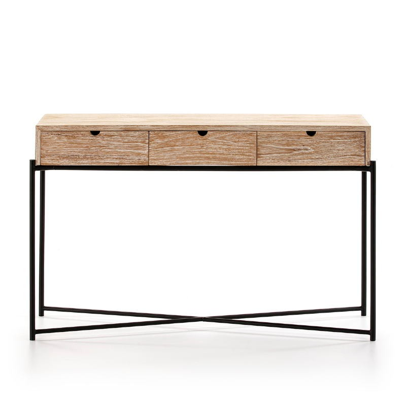 Console 120X40X76 Wood White Washed Metal Black - image 51346
