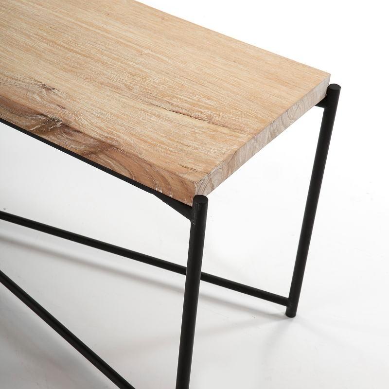 Tv Furniture 160X40X50 Wood White Washed Metal Black - image 51351