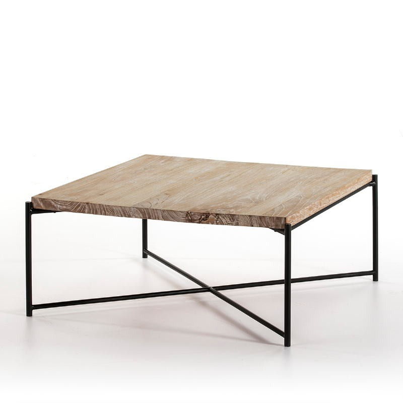 Coffee Table 90X90X40 Wood White Washed Metal Black - image 51356