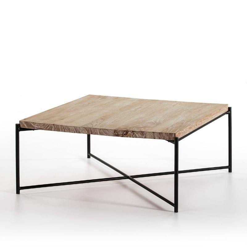 Table basse 90x90x40 Bois Blanc blanchi Métal Noir