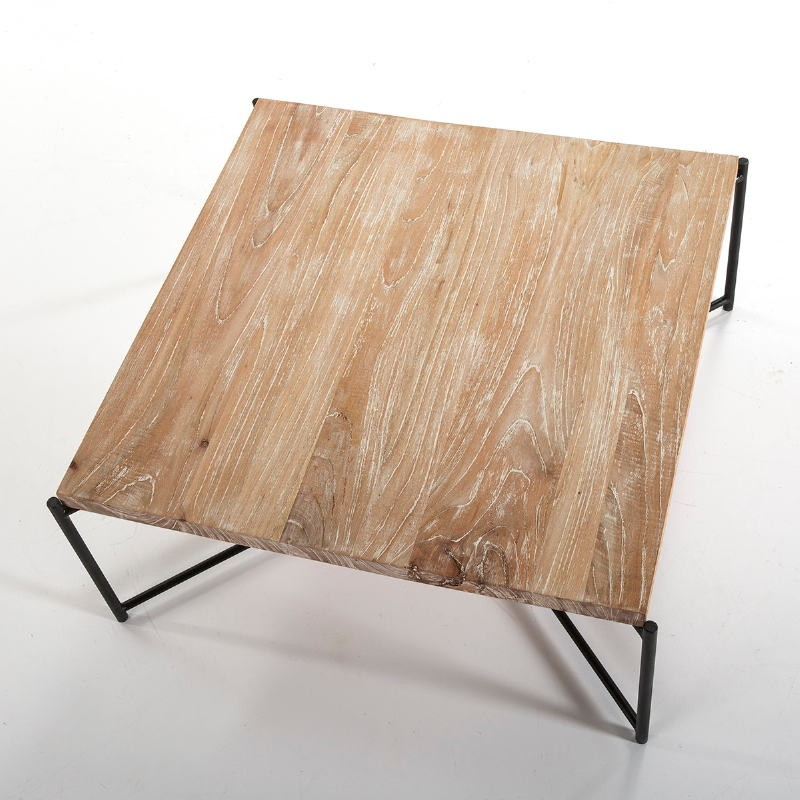 Coffee Table 90X90X40 Wood White Washed Metal Black - image 51357